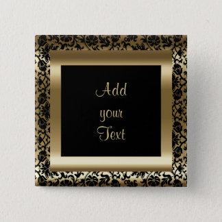 Bóton Quadrado 5.08cm Ouro preto do texto | da festa de aniversário |