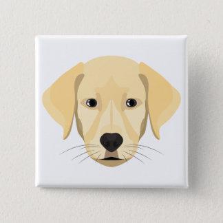 Bóton Quadrado 5.08cm Ouro Retriver do filhote de cachorro da ilustração