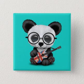 Bóton Quadrado 5.08cm Panda do bebê que joga a guitarra britânica da