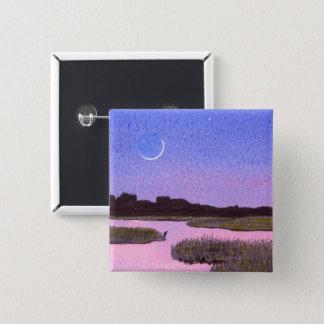 Bóton Quadrado 5.08cm Pântano crescente do crepúsculo da lua & da