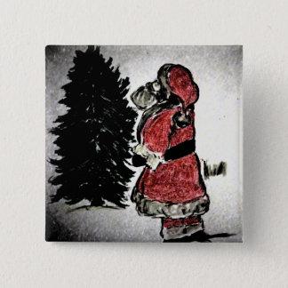 Bóton Quadrado 5.08cm Papai Noel & árvore