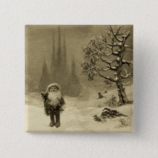 Bóton Quadrado 5.08cm PAPAI NOEL do Sepia engraçado Brown do Natal dos