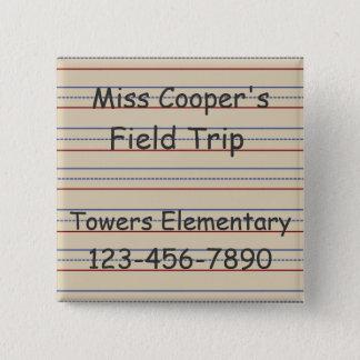 Bóton Quadrado 5.08cm Papel da escola primária personalizado