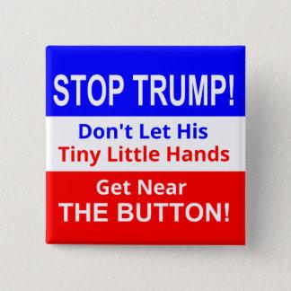 Bóton Quadrado 5.08cm Pare o botão quadrado das mãos pequenas minúsculas
