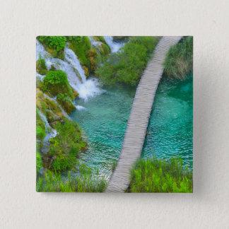 Bóton Quadrado 5.08cm Parque nacional de Plitvice em fugas de caminhada