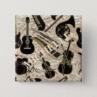 Bóton Quadrado 5.08cm Partitura e preto dos instrumentos/ouro ID481
