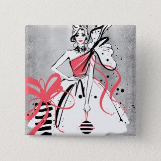 Bóton Quadrado 5.08cm party girl no fundo de prata