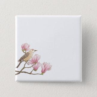 Bóton Quadrado 5.08cm Pássaro em um botão cor-de-rosa do Pin do esboço