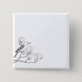 Bóton Quadrado 5.08cm Pássaro em um botão do Pin do esboço do ramo da