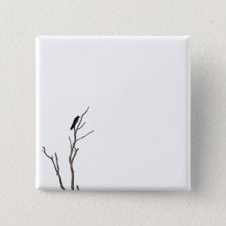 Bóton Quadrado 5.08cm Pássaro simples em um botão do Pin do ramo