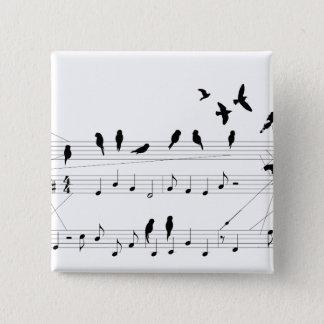 Bóton Quadrado 5.08cm Pássaros em um botão da contagem