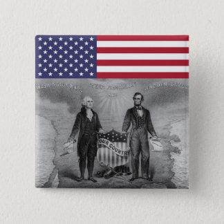 Bóton Quadrado 5.08cm Patriotas EUA de George Washington Abraham Lincoln