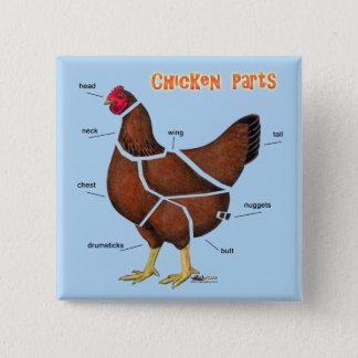 Bóton Quadrado 5.08cm Peças da galinha