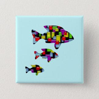 Bóton Quadrado 5.08cm peixes do mosaico