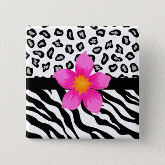 Bóton Quadrado 5.08cm Pele preta & branca da zebra & da chita & flor