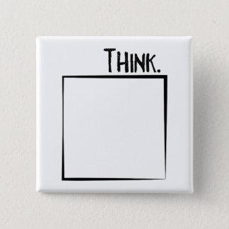 Bóton Quadrado 5.08cm Pense fora da tipografia do Literal da caixa