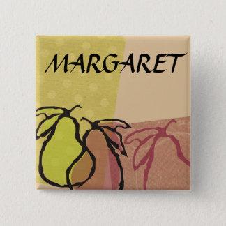 Bóton Quadrado 5.08cm Peras da fruta da arte que cozinham o crachá