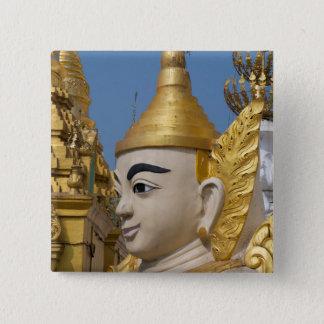 Bóton Quadrado 5.08cm Perfil da estátua de Buddha