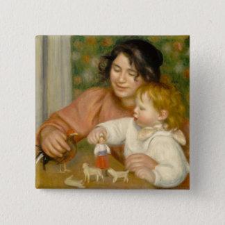 Bóton Quadrado 5.08cm Pierre uma criança de Renoir | com brinquedos