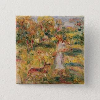Bóton Quadrado 5.08cm Pierre uma paisagem de Renoir | com a esposa do