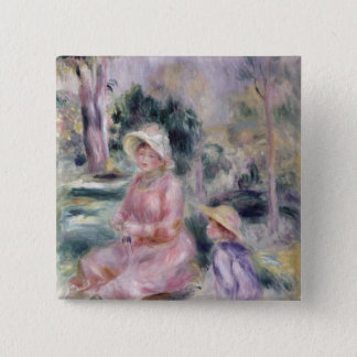 Bóton Quadrado 5.08cm Pierre uma senhora Renoir e seu filho Pierre de