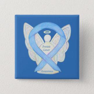 Bóton Quadrado 5.08cm Pin azul do anjo da fita da consciência do cancro