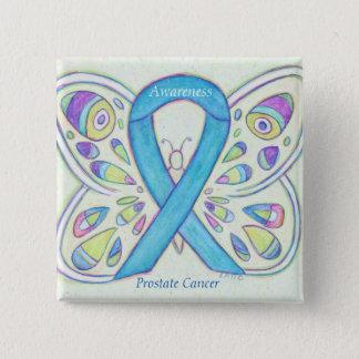 Bóton Quadrado 5.08cm Pin azul do costume da fita da consciência do
