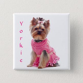 Bóton Quadrado 5.08cm Pin bonito do quadrado do yorkshire terrier de