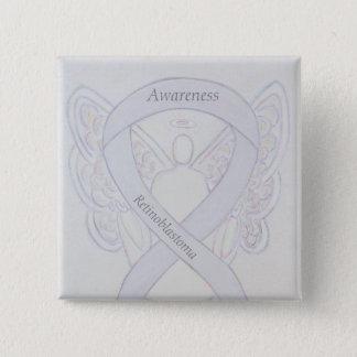 Bóton Quadrado 5.08cm Pin branco do anjo da fita da consciência de