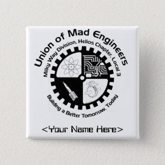 Bóton Quadrado 5.08cm Pin conhecido dos engenheiros loucos