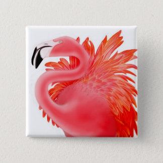 Bóton Quadrado 5.08cm Pin cor-de-rosa do flamingo