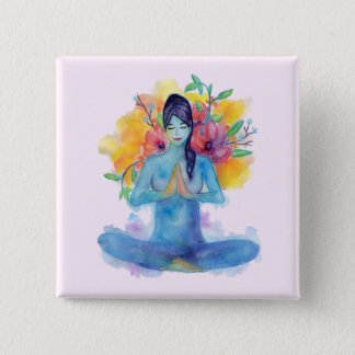 Bóton Quadrado 5.08cm Pin da meditação | da aguarela de Namaste