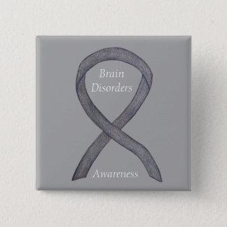 Bóton Quadrado 5.08cm Pin de prata do costume da fita da consciência das