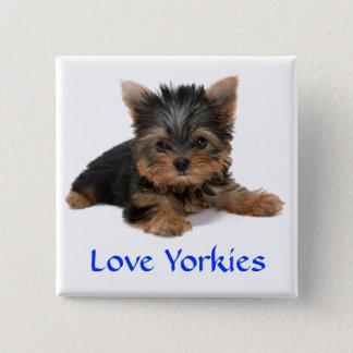 Bóton Quadrado 5.08cm Pin do botão do filhote de cachorro de Yorkies do
