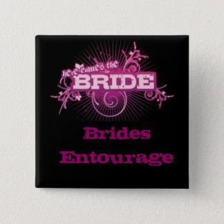 Bóton Quadrado 5.08cm Pin do quadrado do séquito das noivas (PRETO &