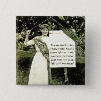 Bóton Quadrado 5.08cm Pin do Suffragette do vintage