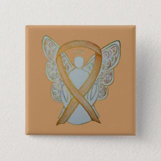 Bóton Quadrado 5.08cm Pin feito sob encomenda da arte do anjo da fita da