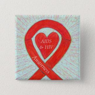 Bóton Quadrado 5.08cm Pin personalizado fita do coração da consciência