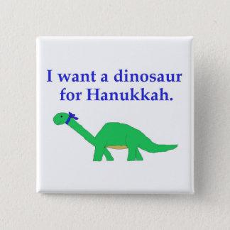 Bóton Quadrado 5.08cm Pino do dinossauro de Hanukkah