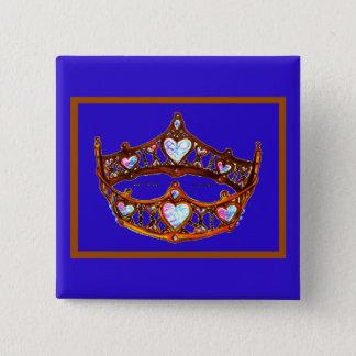 Bóton Quadrado 5.08cm Pino violeta azul da tiara da coroa do ouro dos