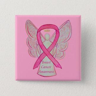 Bóton Quadrado 5.08cm Pinos da arte da fita da consciência do rosa do