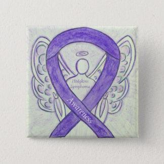 Bóton Quadrado 5.08cm Pinos violetas da fita do anjo da arte do linfoma