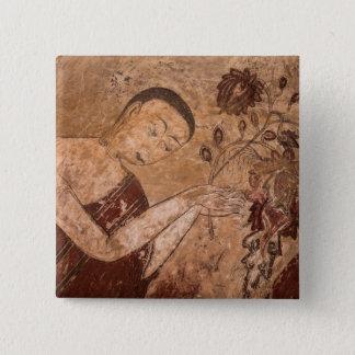 Bóton Quadrado 5.08cm Pintura budista antiga