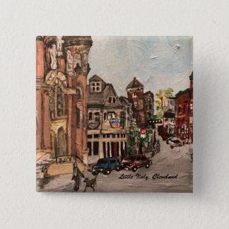 Bóton Quadrado 5.08cm Pintura de pouca Italia, Cleveland Ohio em um