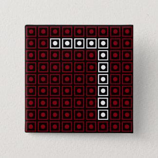 Bóton Quadrado 5.08cm Pixel de 8 bits vermelho, branco & preto na moda