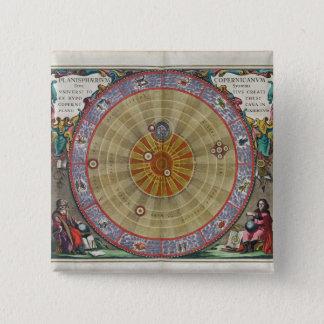 Bóton Quadrado 5.08cm Planisphere do vintage do universo inteiro de