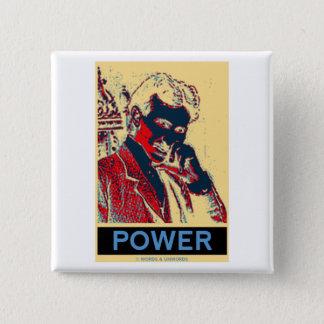 Bóton Quadrado 5.08cm Poder de Nikola Tesla (Obama-Como o poster)