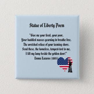 Bóton Quadrado 5.08cm Poema da estátua da liberdade