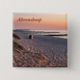 Bóton Quadrado 5.08cm Por do sol da praia de Ahrenshoop