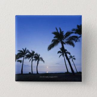Bóton Quadrado 5.08cm Por do sol na baía de Kahaluu em Kona, Havaí